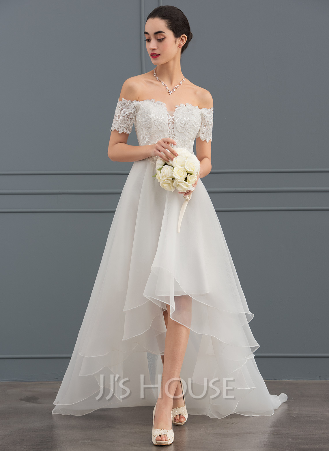 A-Line Off-the-Shoulder Asymmetrical Organza Wedding Dress With Sequins