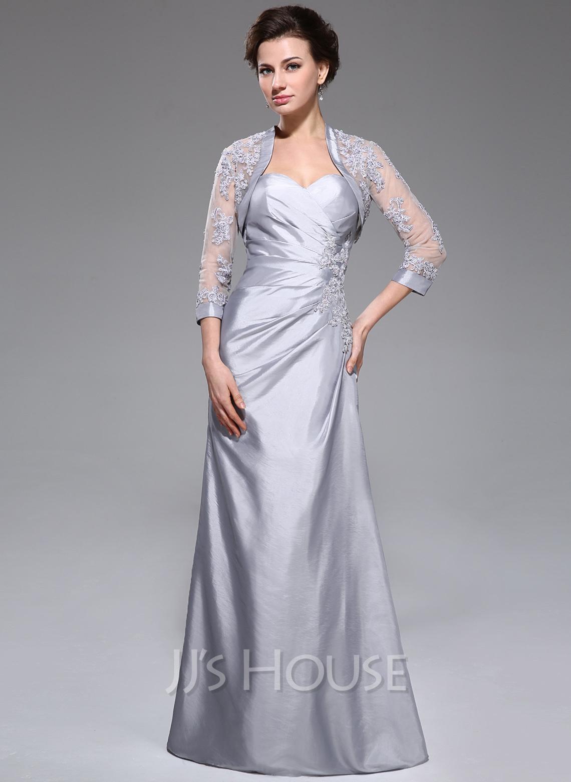 A-formet kjæreste Gulvlengde Taft Kjole til brudens mor med Frynse Profilering Applikasjoner Blonder paljetter
