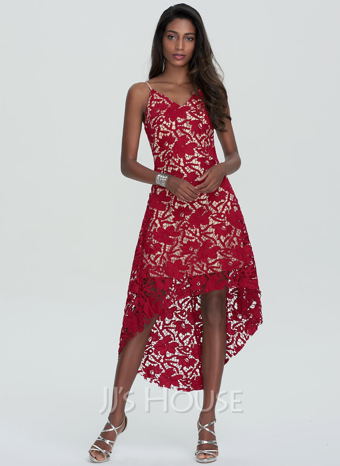 A-Line V-neck Asymmetrical Lace Homecoming Dress