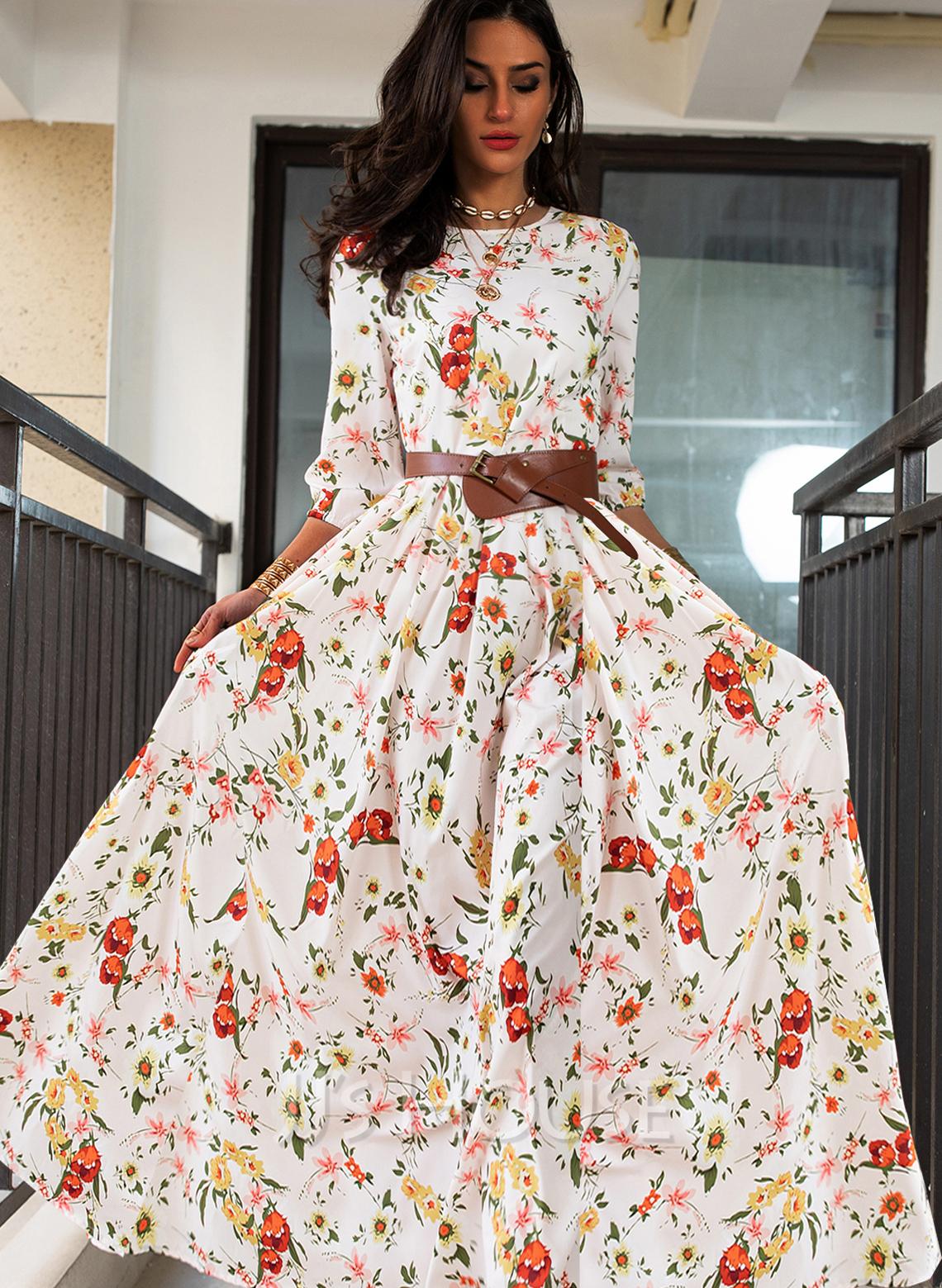 Blomstrete Trykk A-line kjole Rund hals Trekvart ermer Maxi Elegant skater Motekjoler