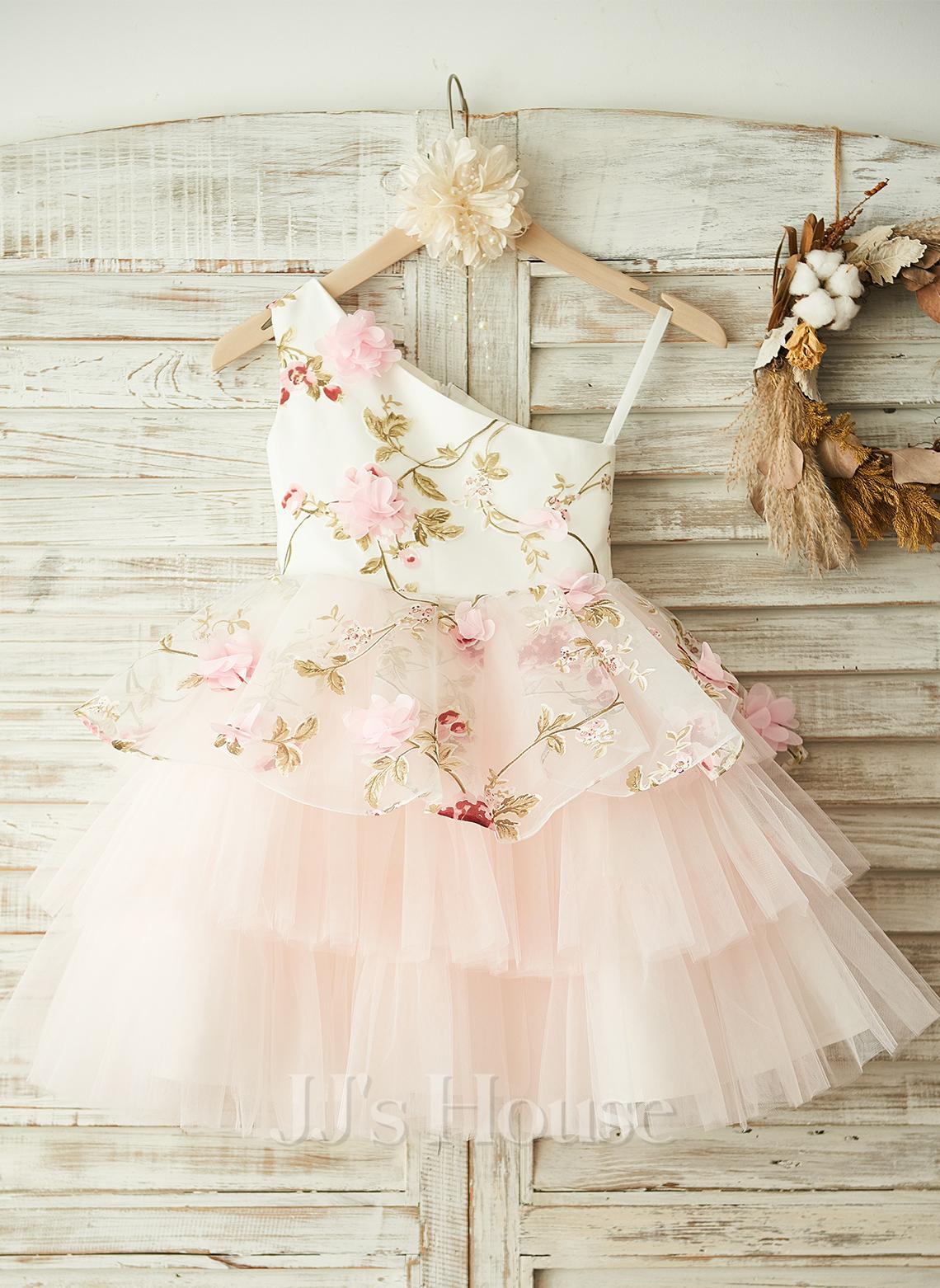 A-Line Knee-length Flower Girl Dress - Tulle Sleeveless One-Shoulder With Flower(s)