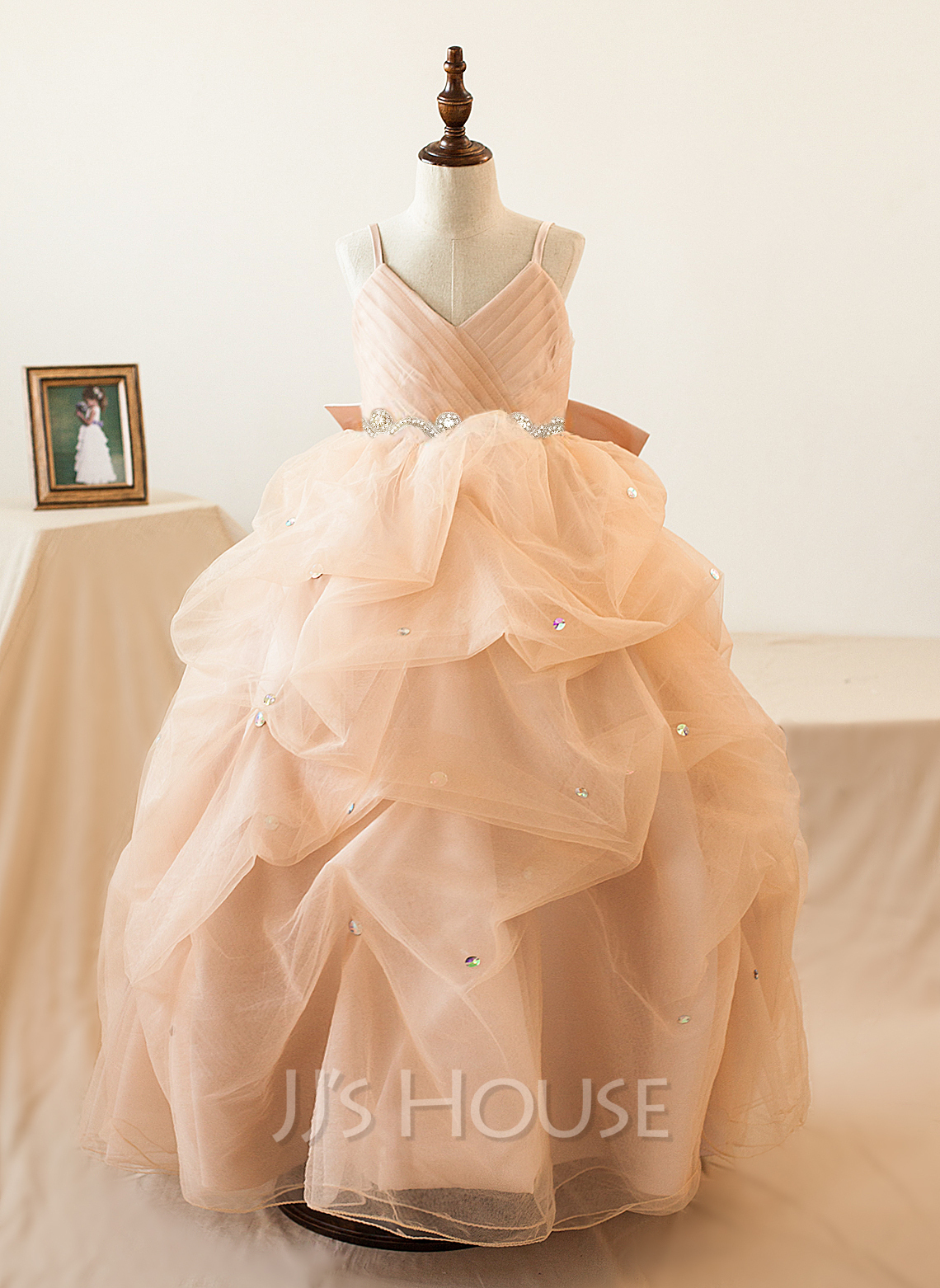 Ball-Gown/Princess Floor-length Flower Girl Dress - Tulle Sleeveless Straps With Ruffles/Bow(s)/Rhinestone
