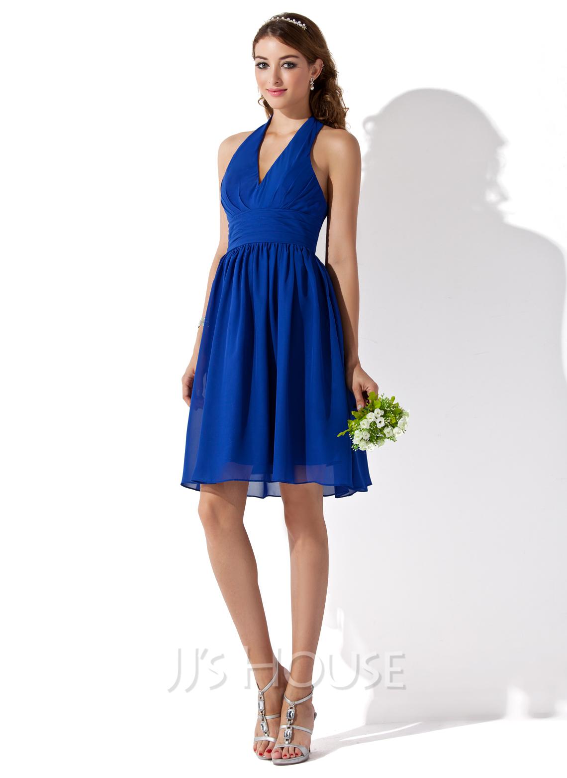 A-Line/Princess Halter Knee-Length Chiffon Bridesmaid Dress With Ruffle