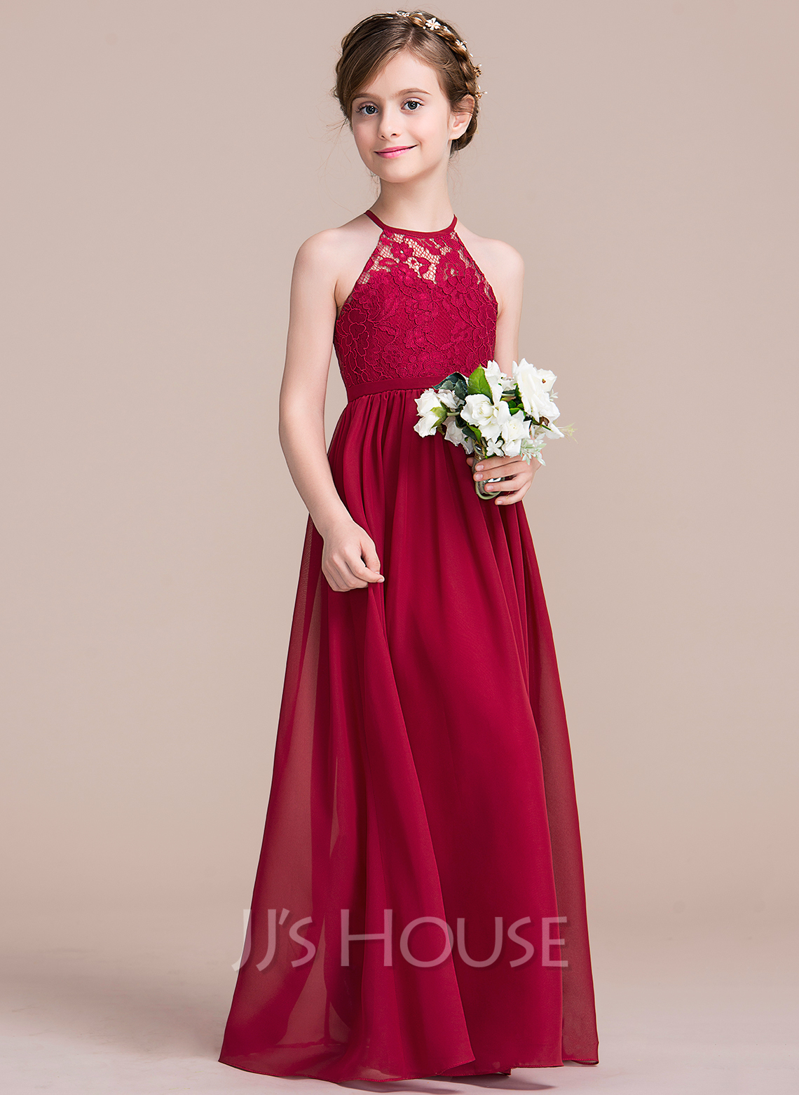 A-Line Floor-length Flower Girl Dress - Chiffon/Lace Sleeveless Scoop Neck