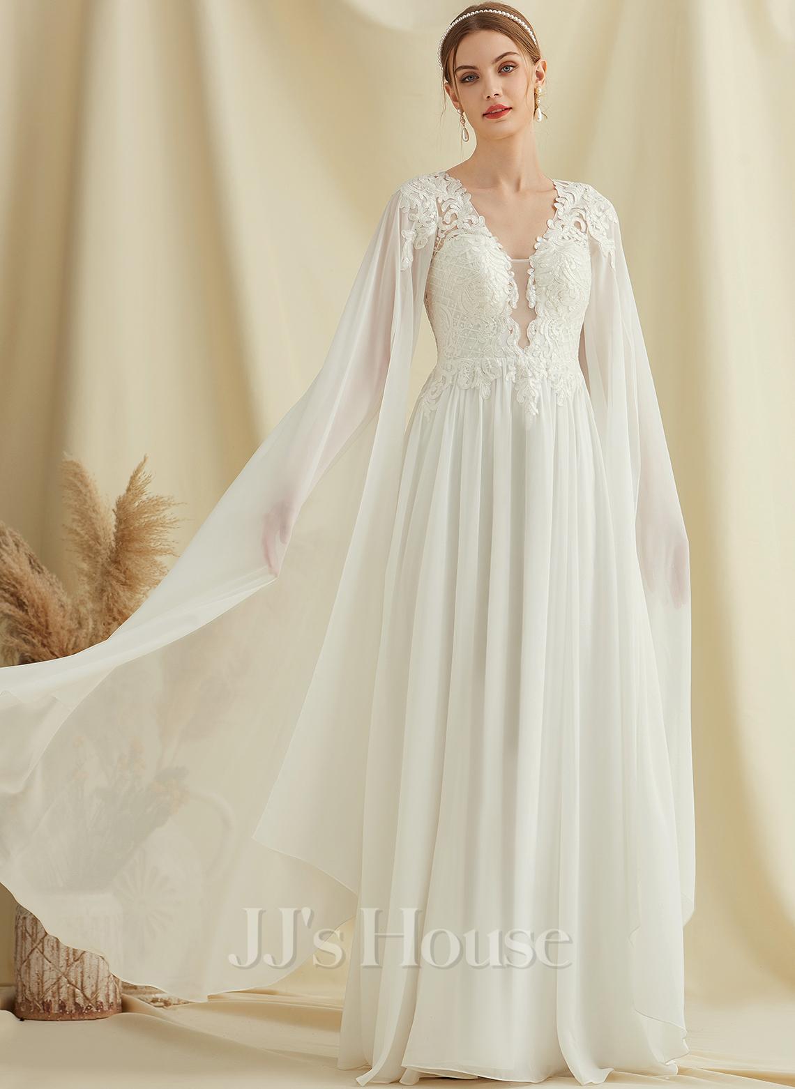 A-Formet V-hals Gulvlengde Chiffong Blonder Brudekjole med paljetter