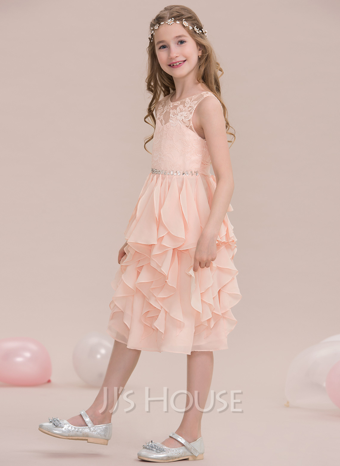 A-Line Scoop Neck Knee-Length Chiffon Junior Bridesmaid Dress With Beading Sequins Cascading Ruffles