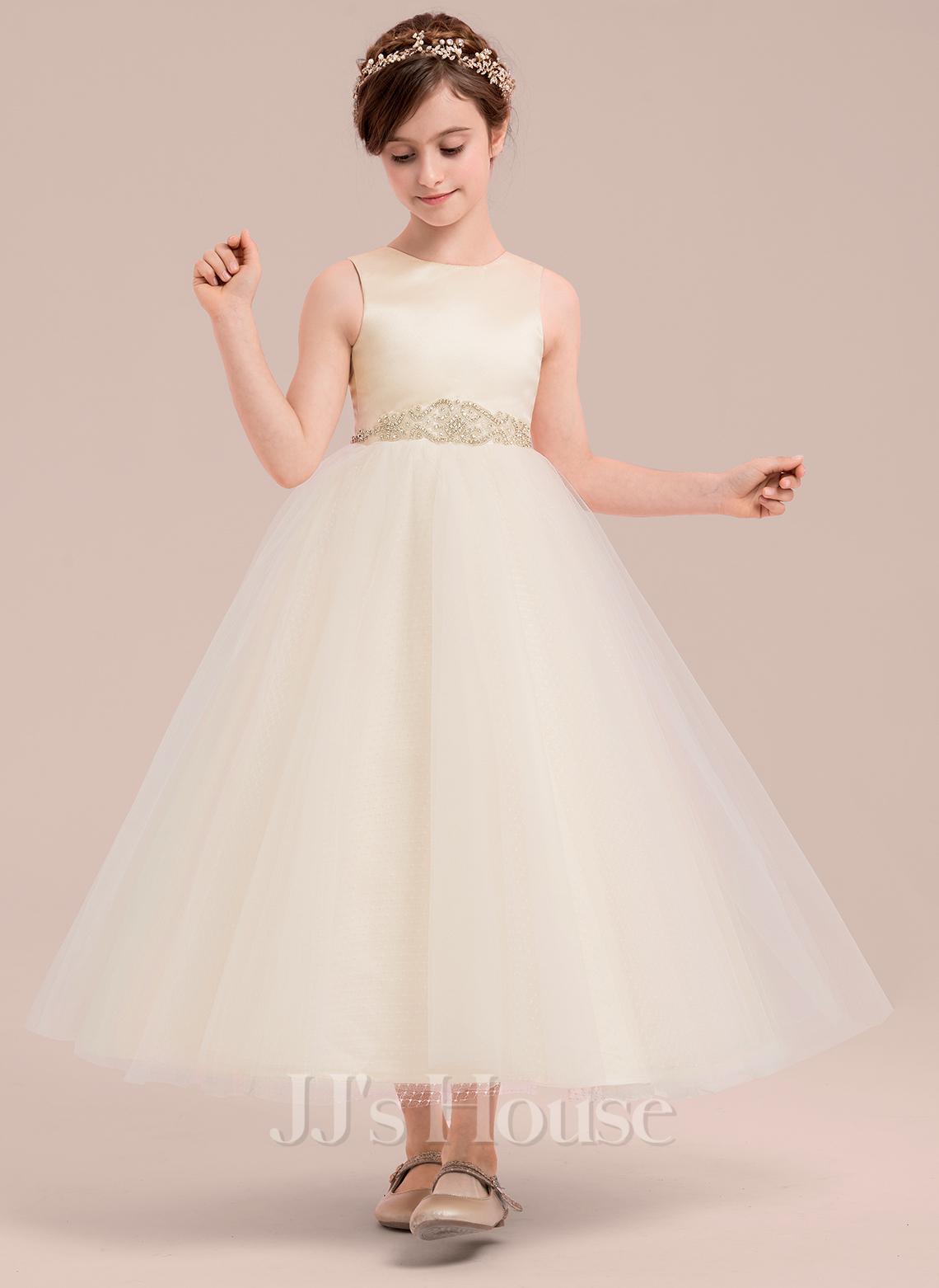 A-Line Ankle-length Flower Girl Dress - Satin/Tulle Sleeveless Scoop Neck With Beading