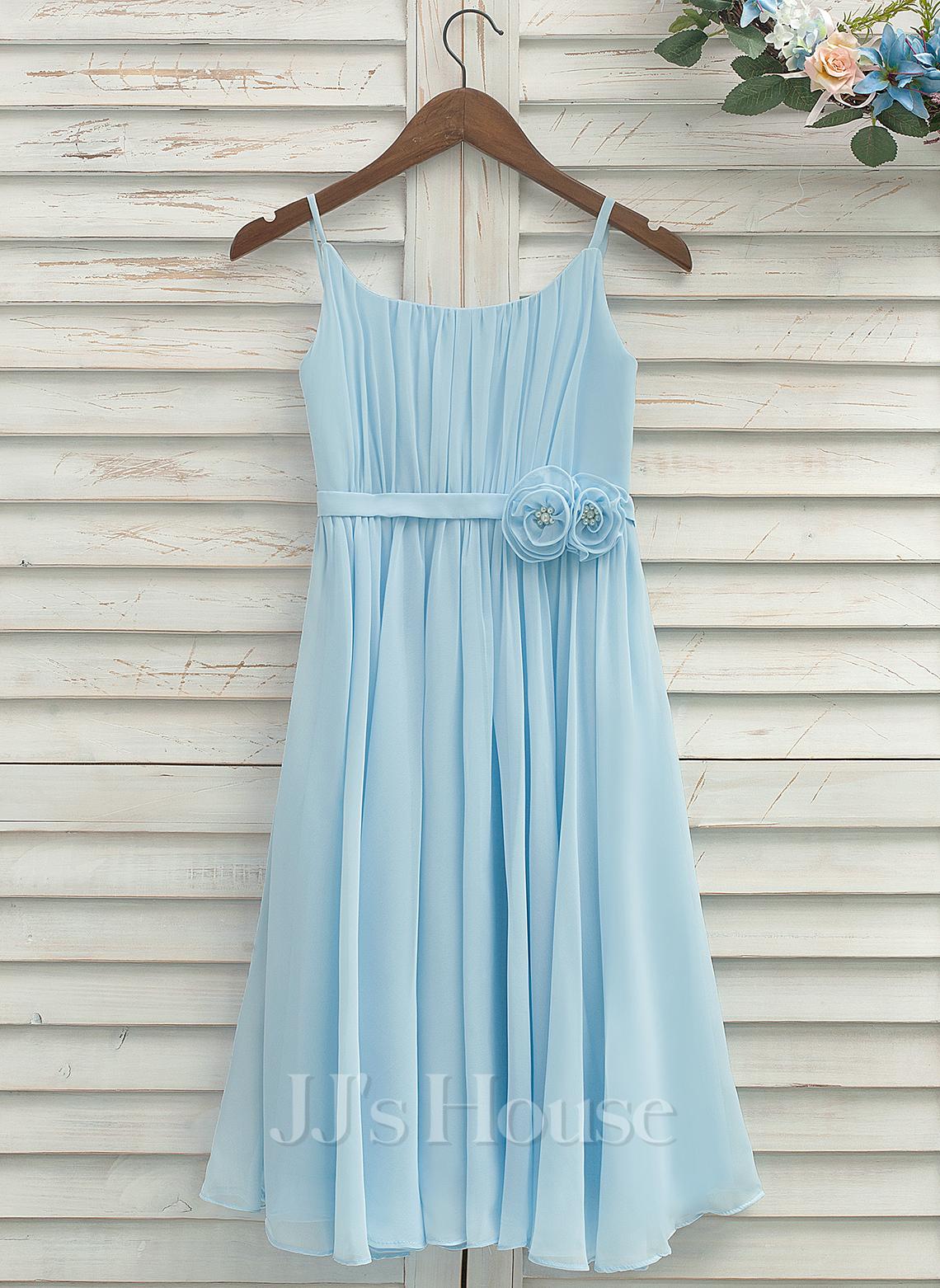 A-Line/Princess Tea-length Flower Girl Dress - Chiffon Sleeveless Straps With Pleated