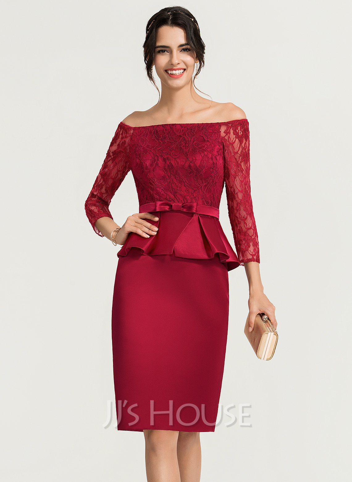 Sheath/Column Off-the-Shoulder Knee-Length Satin Cocktail Dress