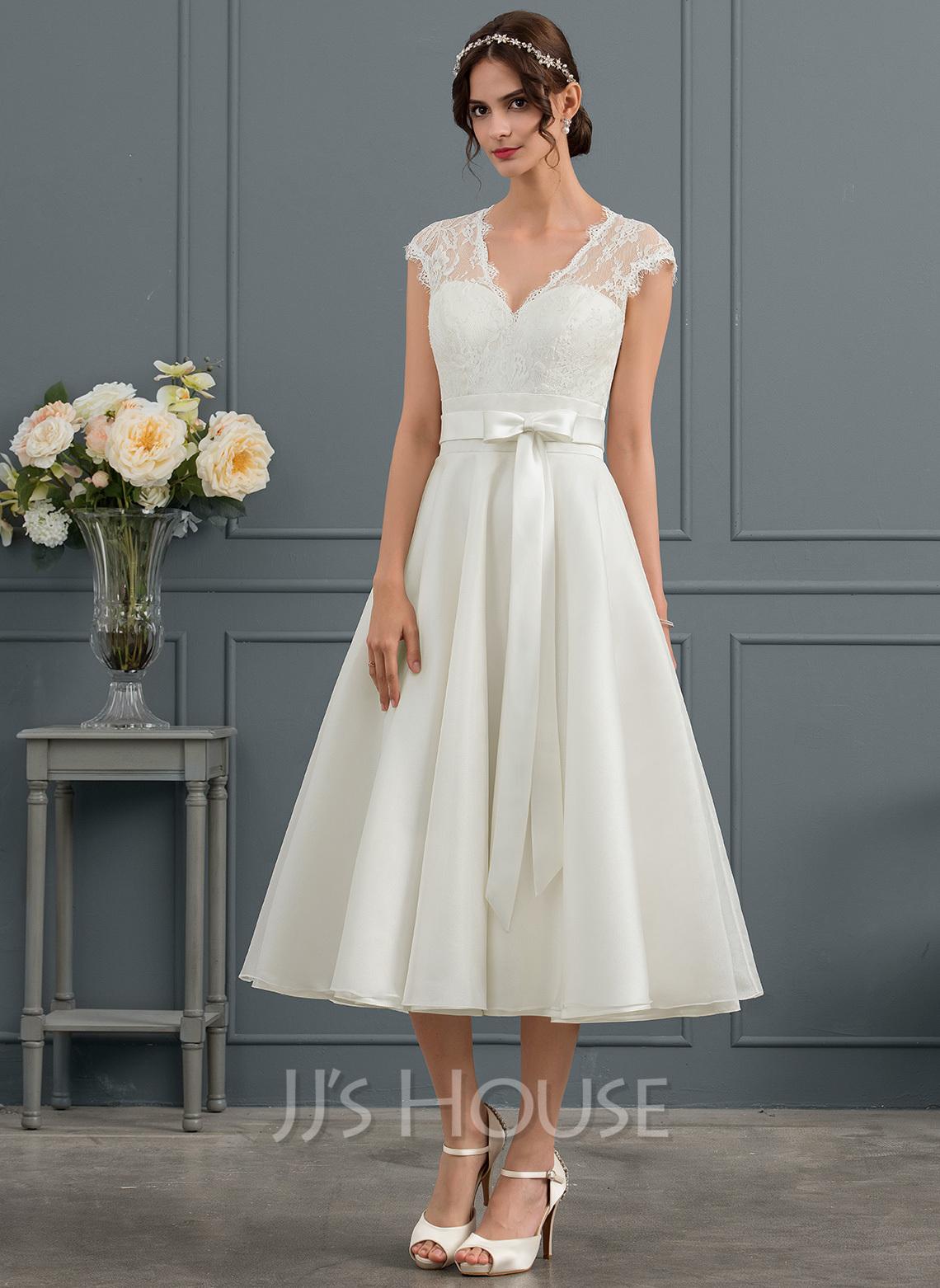 A-Line V-neck Tea-Length Satin Wedding Dress With Bow(s)