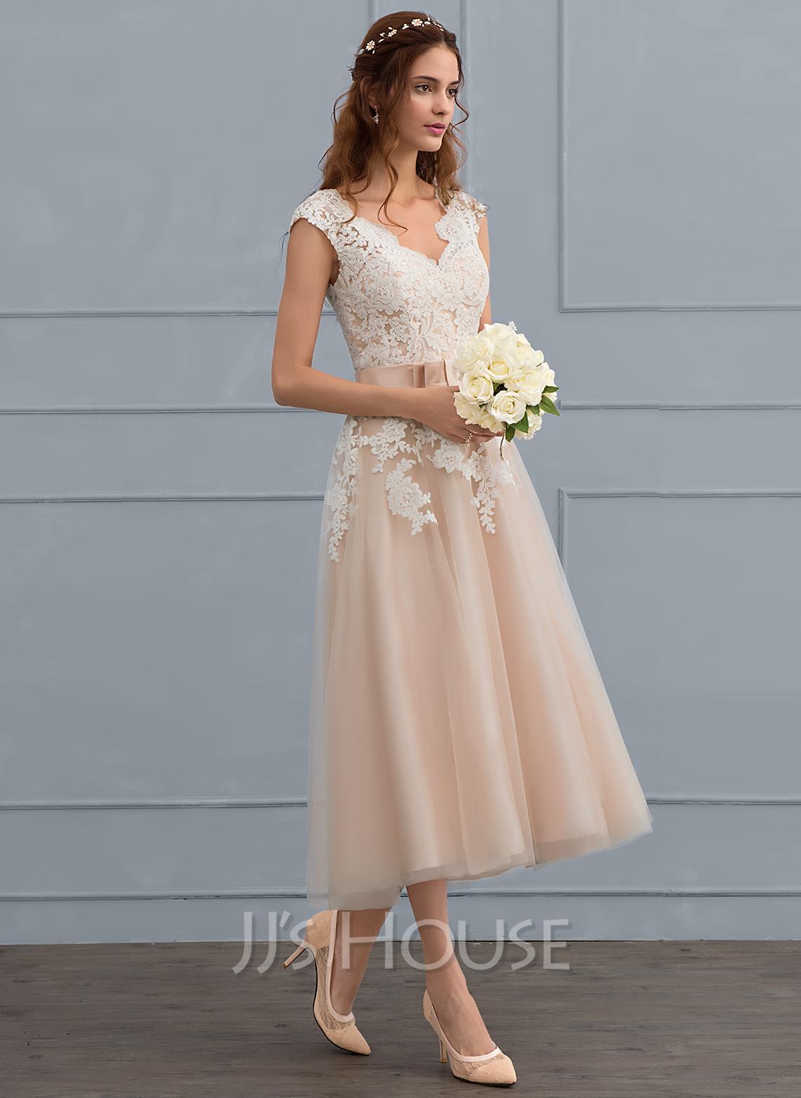 A-Line V-neck Tea-Length Tulle Wedding Dress With Bow(s)