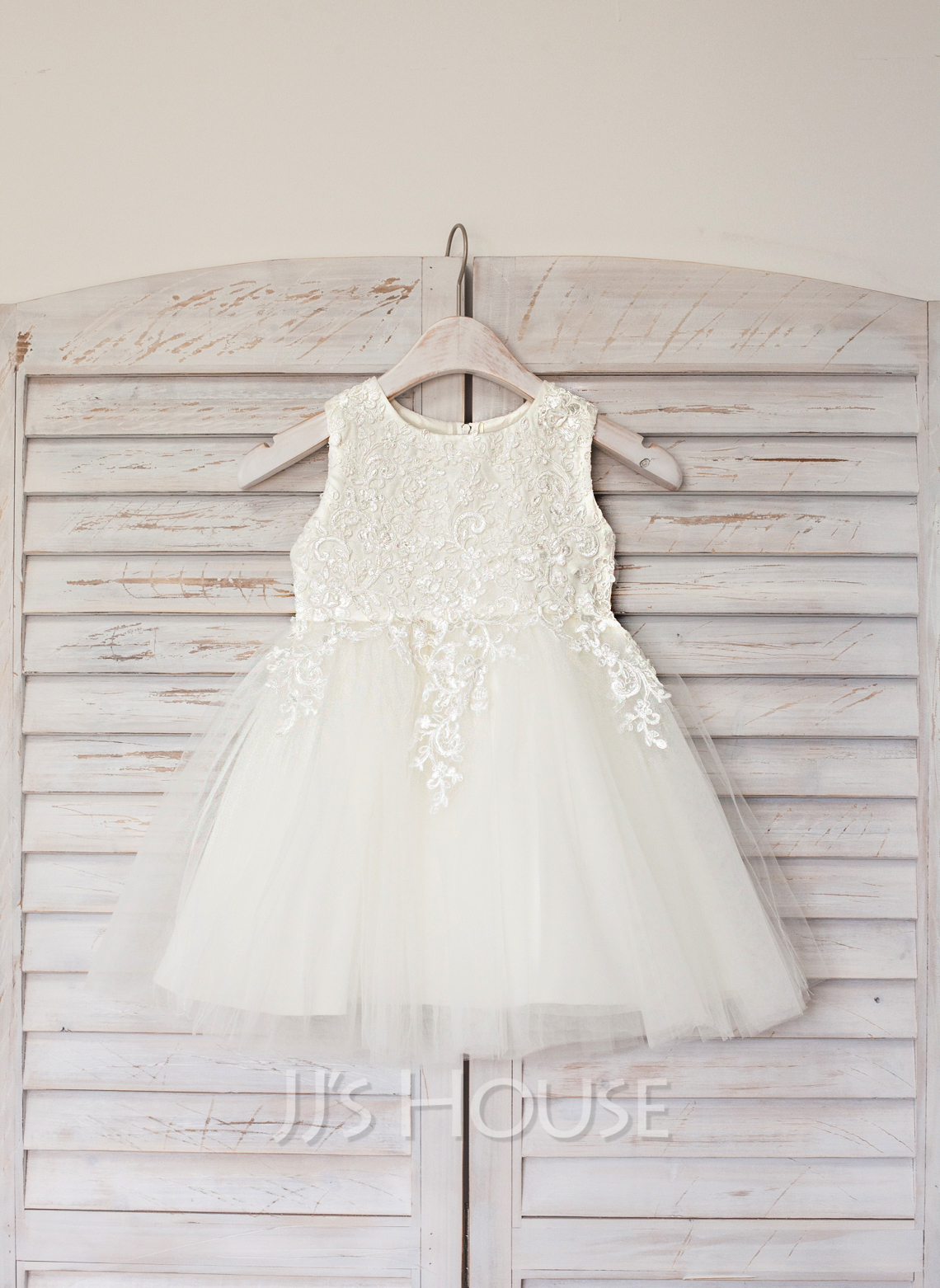 A-Line Knee-length Flower Girl Dress - Satin/Tulle Sleeveless Scoop Neck With Lace