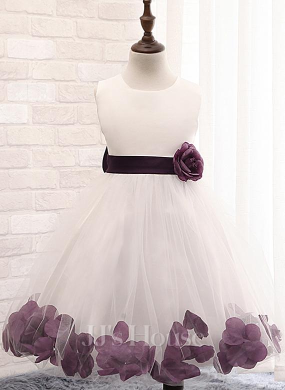 Ball Gown Knee-length Flower Girl Dress - Cotton Blends Sleeveless Scoop Neck With Flower(s)/Bow(s)