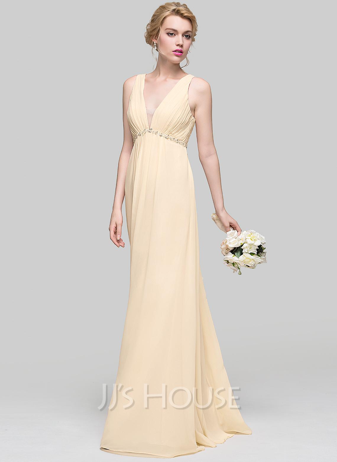 Empire V-neck Floor-Length Chiffon Bridesmaid Dress With Ruffle Beading Sequins Bow(s)