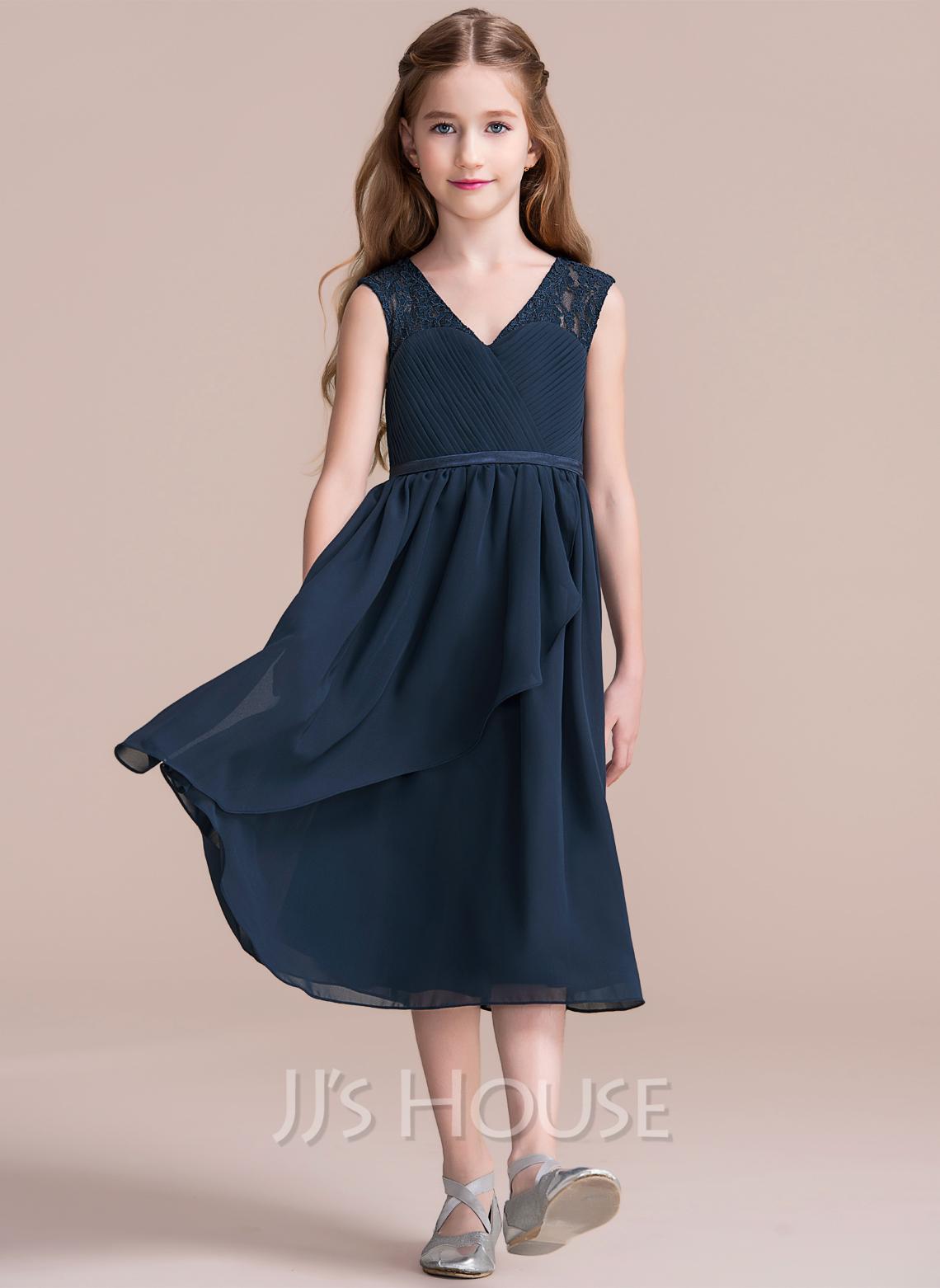 A-Line V-neck Tea-Length Chiffon Junior Bridesmaid Dress With Cascading Ruffles