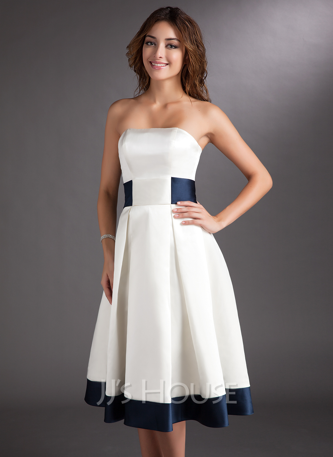 A-Line Strapless Knee-Length Satin Wedding Dress With Sash Bow(s)