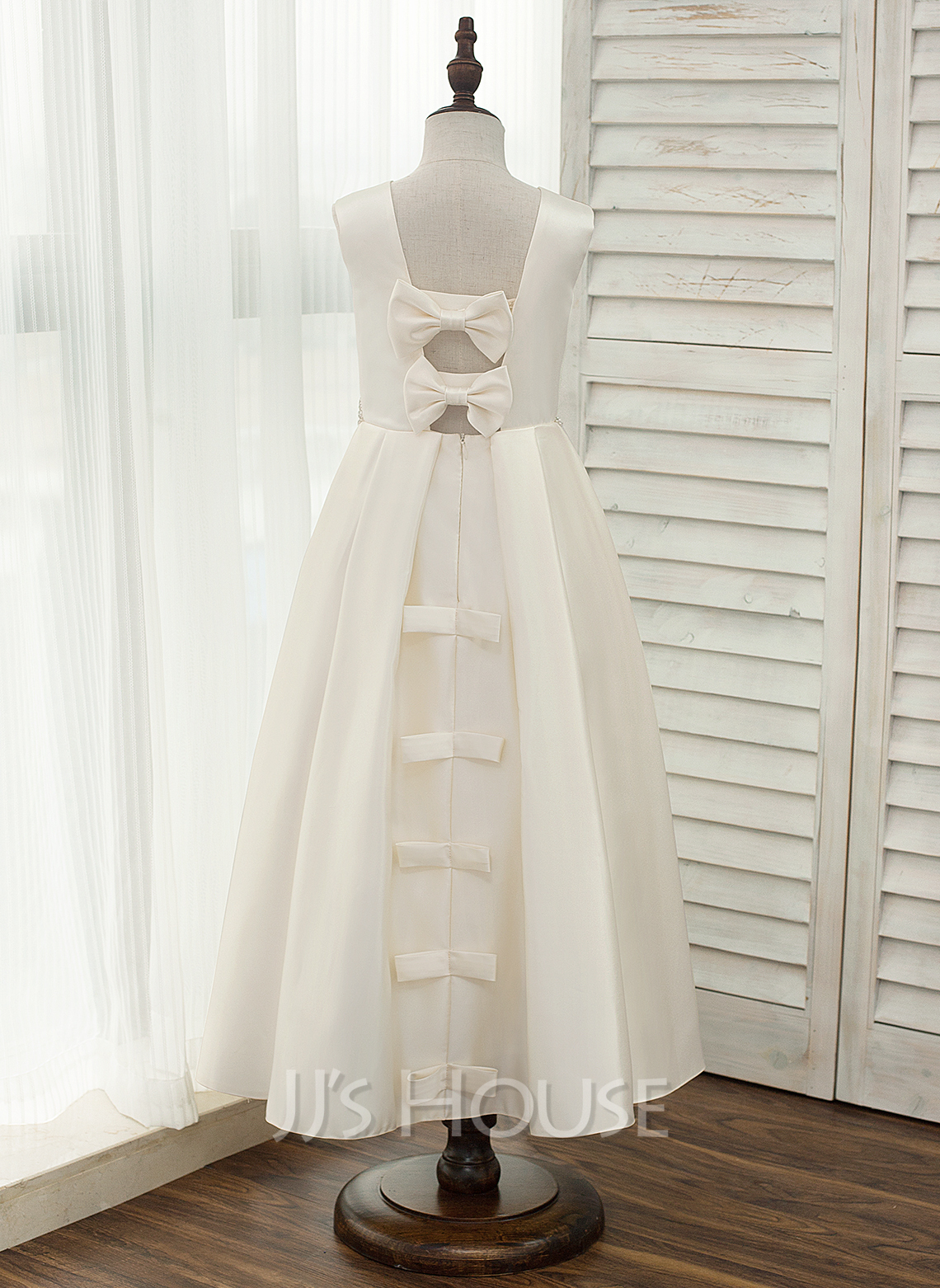 A-Line Ankle-length Flower Girl Dress - Satin Sleeveless Scoop Neck With Bow(s)