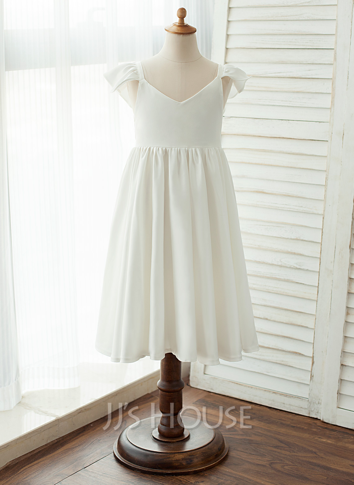 A-Line Tea-length Flower Girl Dress - Chiffon/Satin Sleeveless V-neck