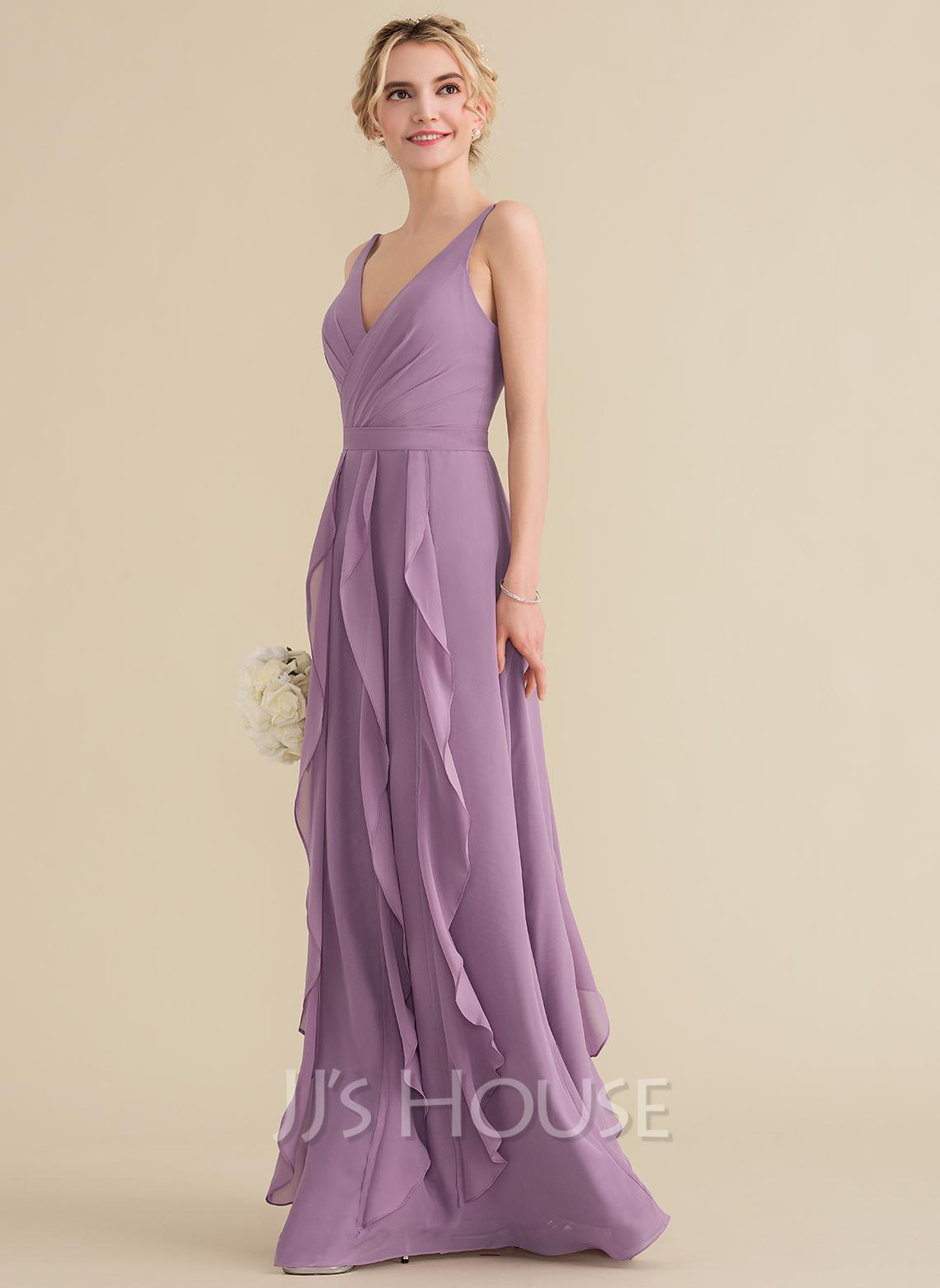 A-Line V-neck Floor-Length Chiffon Evening Dress With Cascading Ruffles