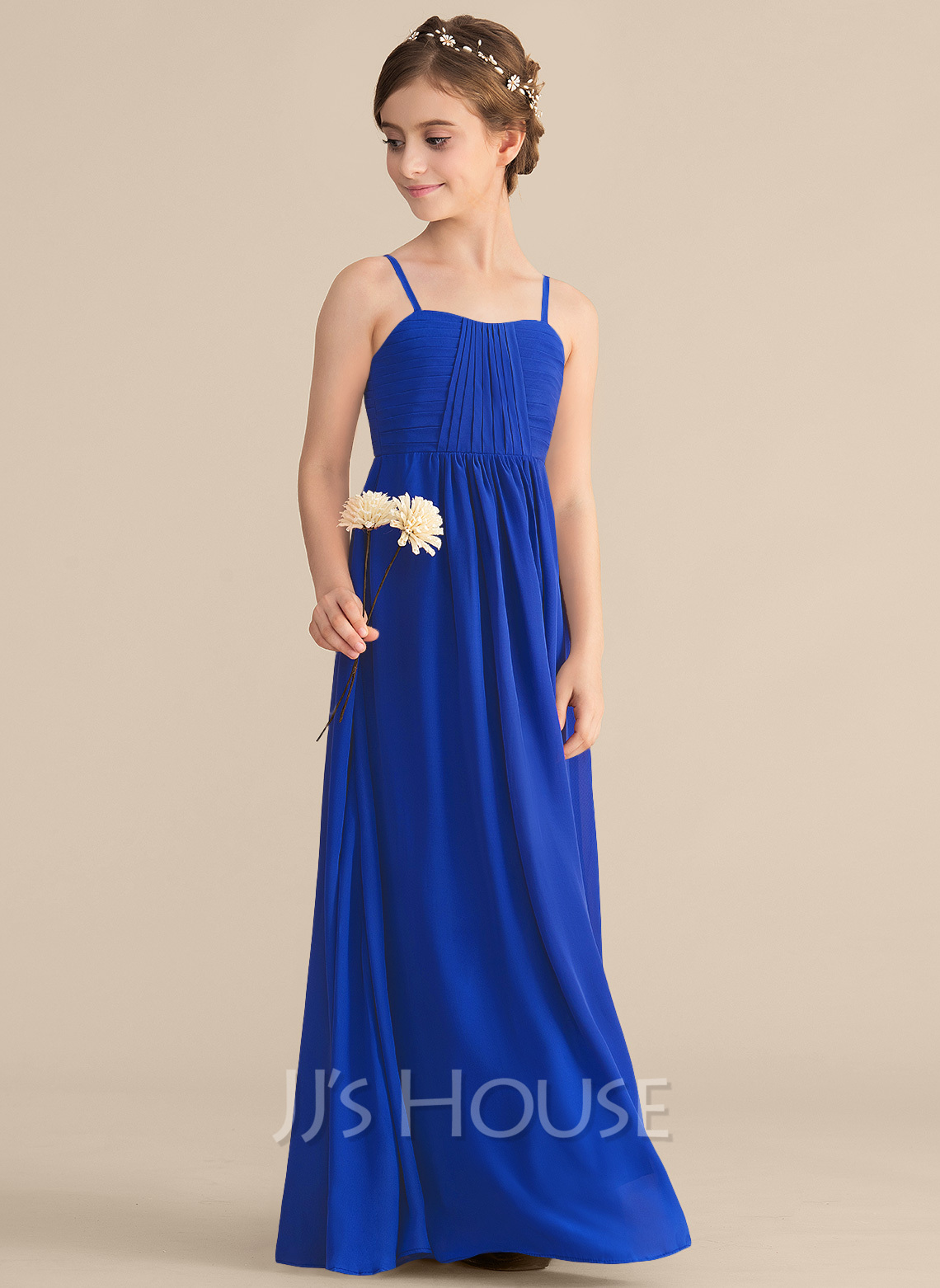 A-Line Sweetheart Floor-Length Chiffon Junior Bridesmaid Dress With Ruffle