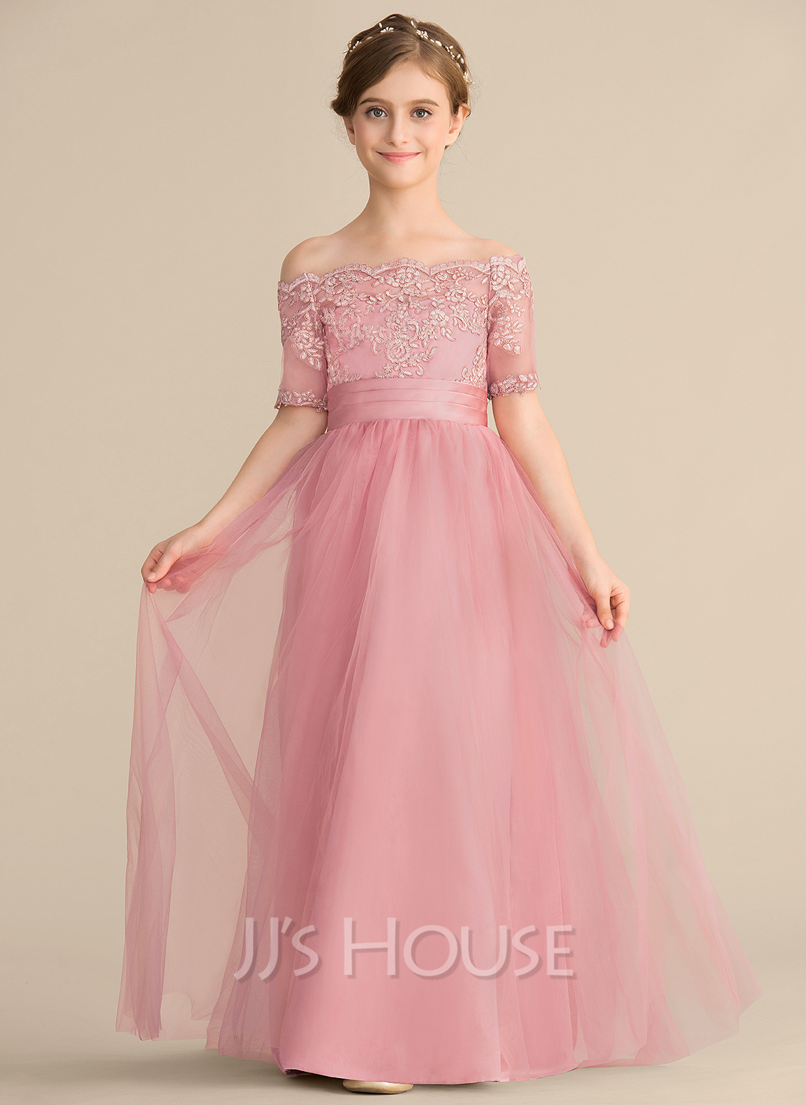 A-Line Off-the-Shoulder Floor-Length Tulle Lace Junior Bridesmaid Dress With Bow(s)