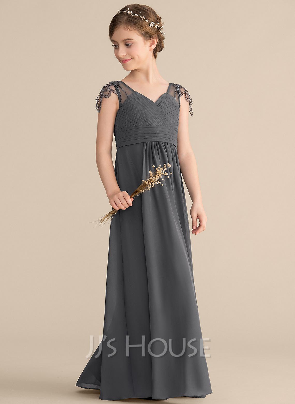 A-Line V-neck Floor-Length Chiffon Junior Bridesmaid Dress With Ruffle Beading