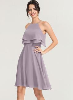 A-Line Square Neckline Knee-Length Chiffon Cocktail Dress