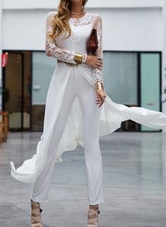 Blonder Solid Rund hals Trekvart ermer Elegant Party Jumpsuits Motekjoler