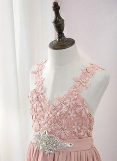 A-Formet Gulvlengde Blomsterpikekjoler - Chiffong/Blonder Uten Ermer V-hals med Profilering
