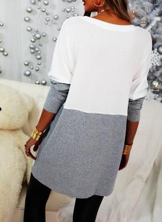 Rund hals Lange ermer Regelmessig Christmas Color Block Trykk Jerseykjorte