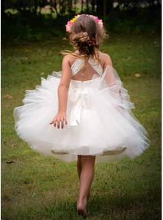 Ball-Gown/Princess Knee-length Flower Girl Dress - Tulle Sleeveless Straps