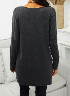 Rund hals Lange ermer Regelmessig Christmas lommer Jerseykjorte