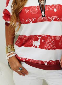 V-hals Lange ermer Regelmessig Christmas Dyr Ut Jerseykjorte