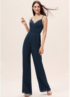 Jumpsuit / Pantsuit V-hals Gulvlengde Chiffong Brudepikekjole med Frynse