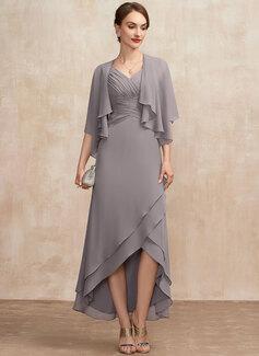 taupe chiffon wrap dress
