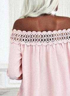 Regelmessig Perlebrodert Blonder Solid Elegant Lange ermer