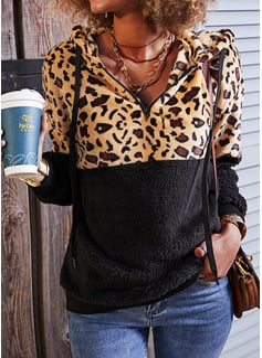Lange ermer Regelmessig Leopard Hettegenser