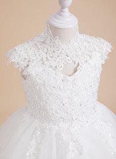 A-Formet Knelengde Blomsterpikekjoler - Tyll/Blonder Uten Ermer høy Hals med Profilering/paljetter/Tilbake hull