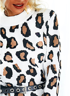 Rund hals Lange ermer Regelmessig Leopard Avslappet Gensere kjoler
