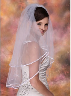 Two-tier Elbow Bridal Veils With Ribbon Edge