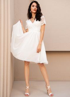 A-Line V-neck Knee-Length Chiffon Wedding Dress With Lace