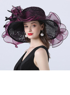 Ladies' Hottest/Romantic Organza With Silk Flower Beach/Sun Hats/Tea Party Hats