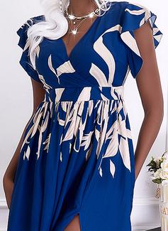 Trykk A-line kjole V-hals Kortermer Maxi Elegant skater Motekjoler