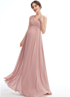 A-line kjole V-hals Gulvlengde Chiffong Brudepikekjole for Gravide