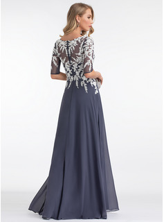 A-Line V-neck Floor-Length Chiffon Evening Dress With Split Front