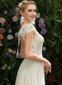A-Formet Illusjon Gulvlengde Brudekjole med Blonder paljetter