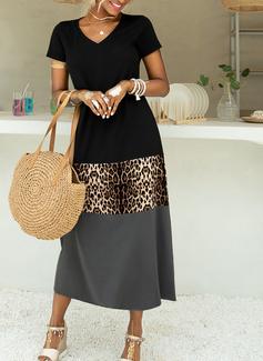 Leopard Color Block Skiftekjoler V-hals Kortermer Maxi Avslappet Ferie Motekjoler