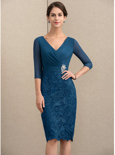 Sheath/Column V-neck Knee-Length Chiffon Lace Mother of the Bride Dress With Crystal Brooch