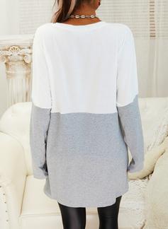 Rund hals Lange ermer Regelmessig Christmas Color Block Trykk lommer Jerseykjorte