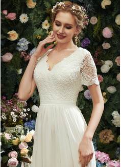 A-Formet V-hals Asymmetrisk Brudekjole med Blonder